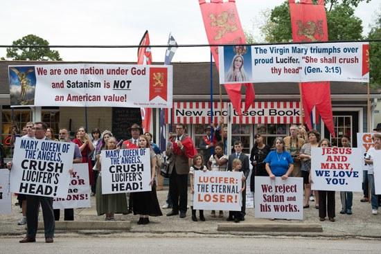 TFP protesting Luciferian Church in Spring Texas
