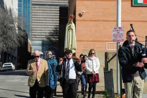 We joined a small group that processed from the Guadalupe Cathedral to the gathering at the Earle Cabell building.
